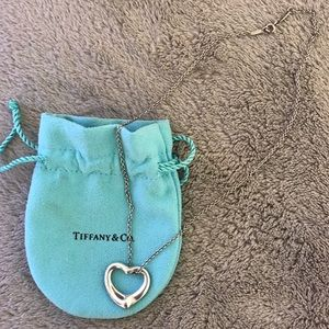 Tiffany Sterling Silver Open Heart Necklace